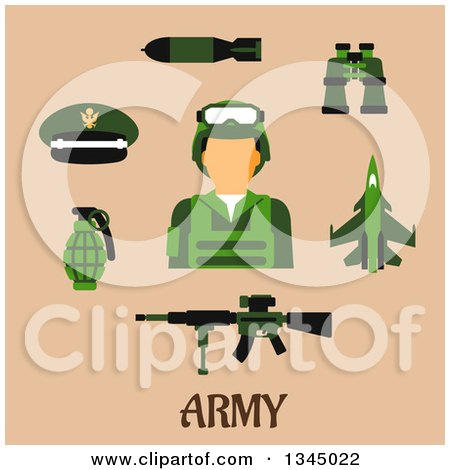 Clipart of a Flat Design Army Soldier Avatar and Weapons over Tan and Text - Royalty Free Vector Illustration by Vector Tradition SM