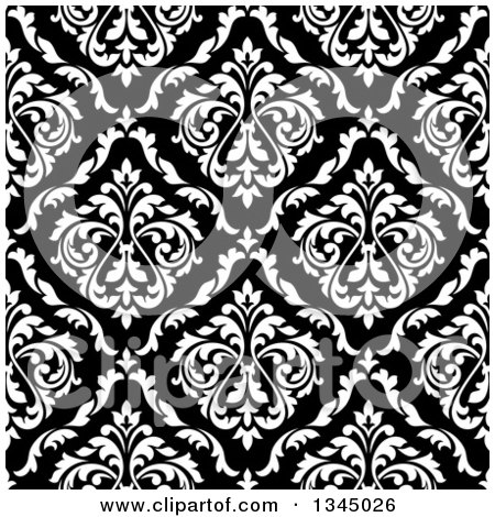 Clipart of a Seamless Pattern Background of Vintage Damask in White over Black - Royalty Free Vector Illustration by Vector Tradition SM