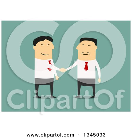 Clipart of a Flat Design of an Asian Businessman Boss Shaking Hands with a Partner or Employee, on Green - Royalty Free Vector Illustration by Vector Tradition SM