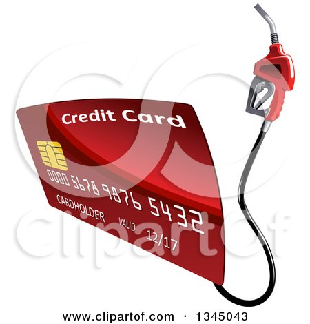 Clipart of a Red Gas Pump Credit Card - Royalty Free Vector Illustration by Vector Tradition SM