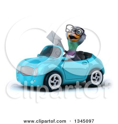 Clipart of a 3d Bespectacled Pigeon Holding an Envelope and Driving a Blue Convertible Car Slightly to the Left - Royalty Free Illustration by Julos