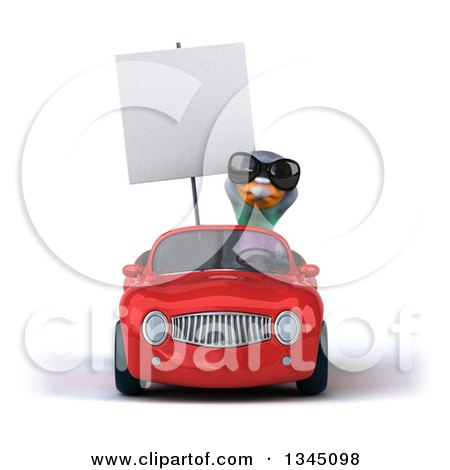 Clipart of a 3d Pigeon Wearing Sunglasses, Holding a Blank Sign and Driving a Red Convertible Car - Royalty Free Illustration by Julos