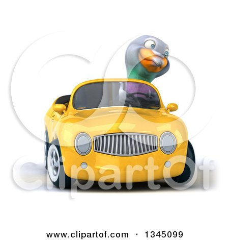 Clipart of a 3d Pigeon Driving a Yellow Convertible Car and Turning - Royalty Free Illustration by Julos