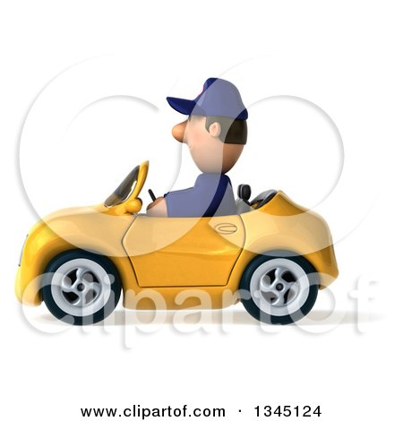 Clipart of a 3d Short White Male Auto Mechanic Driving a Yellow Convertible Car to the Left - Royalty Free Illustration by Julos