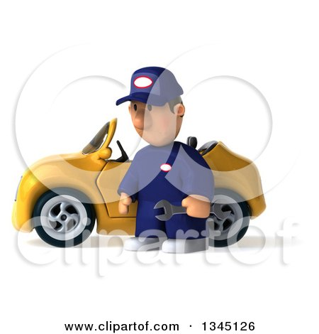 Clipart of a 3d Short White Male Auto Mechanic Pouting and Holding a Wrench by a Yellow Convertible Car - Royalty Free Illustration by Julos