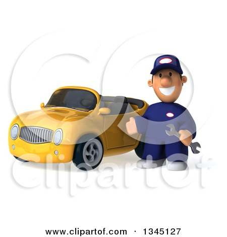Clipart of a 3d Short White Male Auto Mechanic Holding a Wrench and Presenting by a Yellow Convertible Car - Royalty Free Illustration by Julos