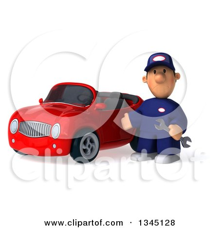 Clipart of a 3d Short White Male Auto Mechanic Holding a Wrench and Presenting by a Red Convertible Car - Royalty Free Illustration by Julos