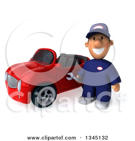Clipart of a 3d Short White Male Auto Mechanic Holding a Wrench by a Red Convertible Car - Royalty Free Illustration by Julos