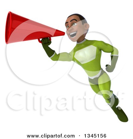 Clipart of a 3d Young Black Male Super Hero in a Green Suit, Flying and Announcing with a Megaphone - Royalty Free Illustration by Julos