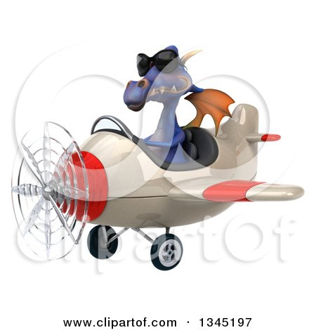 Clipart of a 3d Purple Dragon Aviator Pilot Wearing Sunglasses and Flying a White and Red Airplane Slightly to the Left - Royalty Free Illustration by Julos