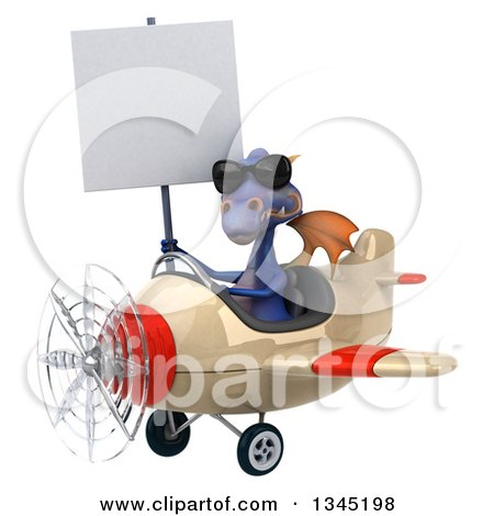 Clipart of a 3d Purple Dragon Aviator Pilot Wearing Sunglasses, Holding a Blank Sign and Flying a White and Red Airplane Slightly to the Left - Royalty Free Illustration by Julos