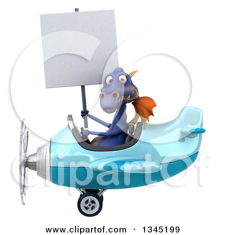 Clipart of a 3d Purple Dragon Aviator Pilot Holding a Blank Sign and Flying a Blue Airplane to the Left - Royalty Free Illustration by Julos
