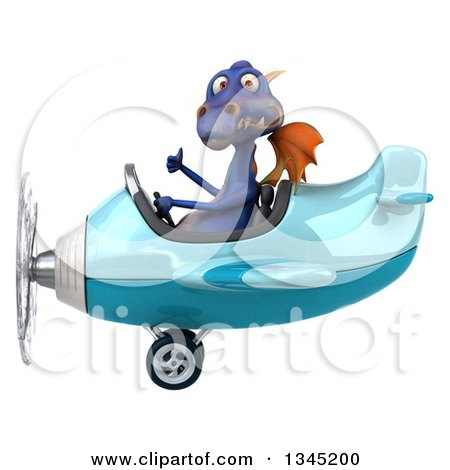 Clipart of a 3d Purple Dragon Aviator Pilot Giving a Thumb up and Flying a Blue Airplane to the Left - Royalty Free Illustration by Julos
