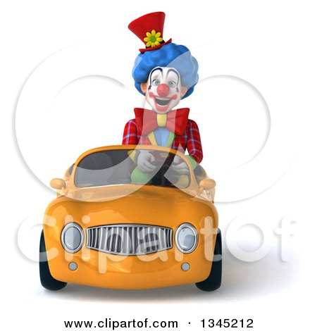 Clipart of a 3d Colorful Clown Driving an Orange Convertible Car - Royalty Free Illustration by Julos