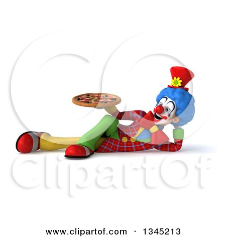 Clipart of a 3d Colorful Clown Holding a Pizza and Resting on His Side - Royalty Free Illustration by Julos