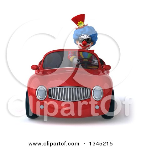 Clipart of a 3d Colorful Clown Wearing Sunglasses and Driving a Red Convertible Car - Royalty Free Illustration by Julos