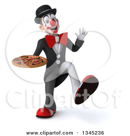 Clipart of a 3d White and Black Clown Holding a Pizza and Dancing - Royalty Free Illustration by Julos