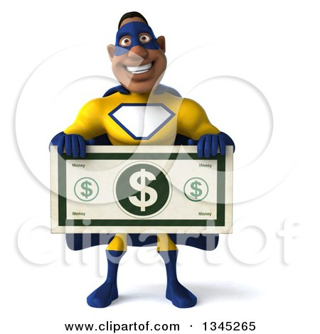 Clipart of a 3d Muscular Black Male Super Hero in a Yellow and Blue Suit, Holding a Giant Dollar Bill - Royalty Free Illustration by Julos