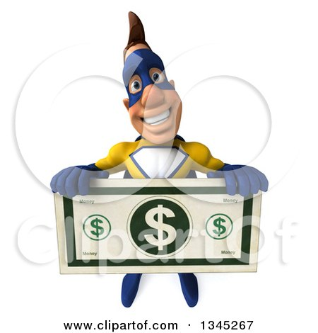 Clipart of a 3d Muscular Male Yellow and Blue Super Hero Holding up a Giant Dollar Bill - Royalty Free Illustration by Julos