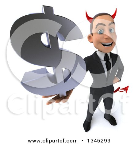 Clipart of a 3d Young White Devil Businessman Holding up a Dollar Currency Symbol - Royalty Free Illustration by Julos