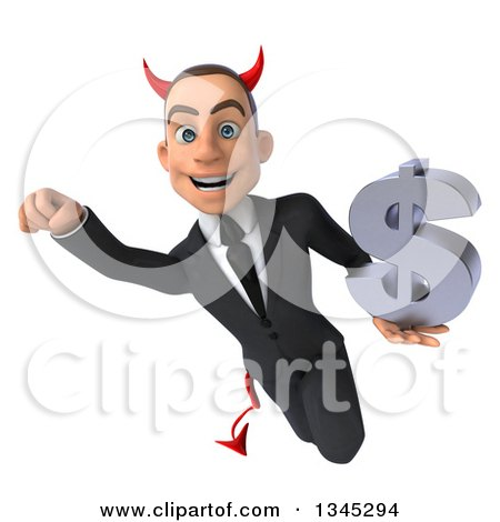 Clipart of a 3d Young White Devil Businessman Holding a Dollar Currency Symbol and Flying - Royalty Free Illustration by Julos