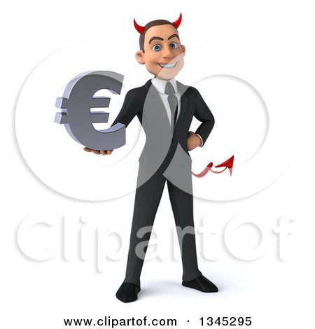 Clipart of a 3d Young White Devil Businessman Holding a Euro Currency Symbol - Royalty Free Illustration by Julos