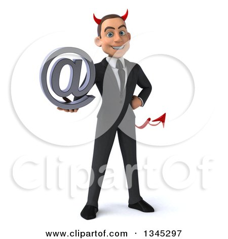 Clipart of a 3d Young White Devil Businessman Holding an Email Arobase at Symbol - Royalty Free Illustration by Julos