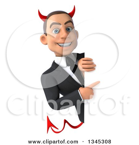 Clipart of a 3d Young White Devil Businessman Pointing Around a Sign - Royalty Free Illustration by Julos