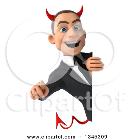 Clipart of a 3d Young White Devil Businessman Pointing Outwards Around a Sign - Royalty Free Illustration by Julos