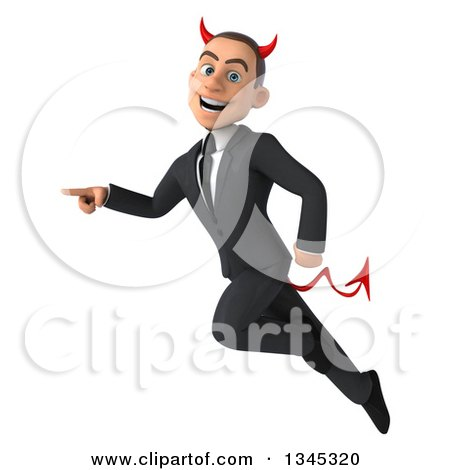 Clipart of a 3d Young White Devil Businessman Flying and Pointing to the Left - Royalty Free Illustration by Julos