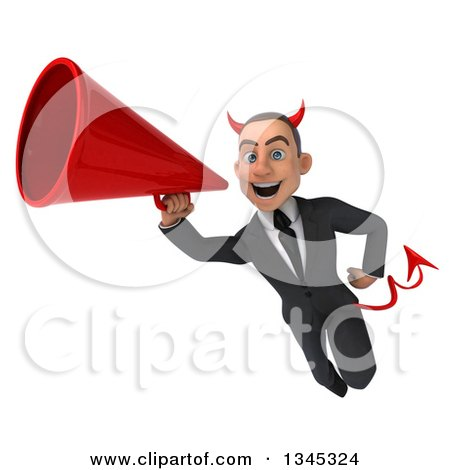 Clipart of a 3d Young White Devil Businessman Flying and Announcing with a Megaphone - Royalty Free Illustration by Julos