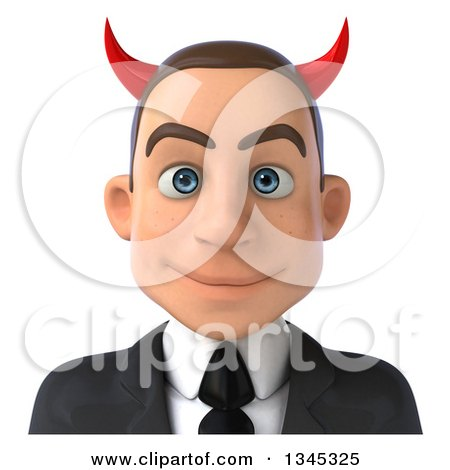 Clipart of a 3d Young White Devil Businessman Avatar - Royalty Free Illustration by Julos
