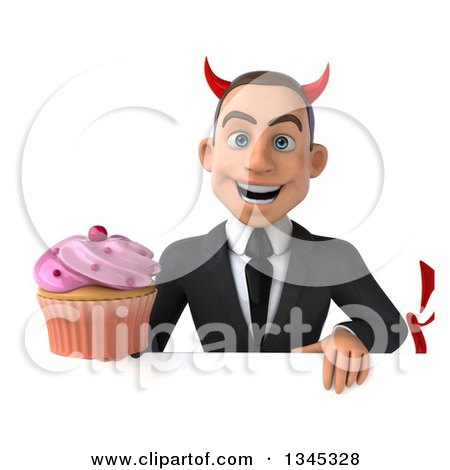 Clipart of a 3d Young White Devil Businessman Holding a Pink Frosted Cupcake over a Sign - Royalty Free Illustration by Julos