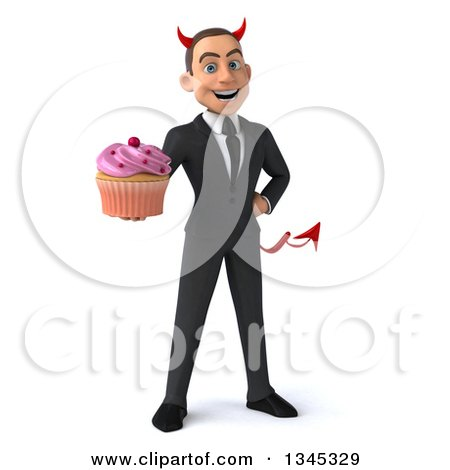 Clipart of a 3d Young White Devil Businessman Holding a Pink Frosted Cupcake - Royalty Free Illustration by Julos