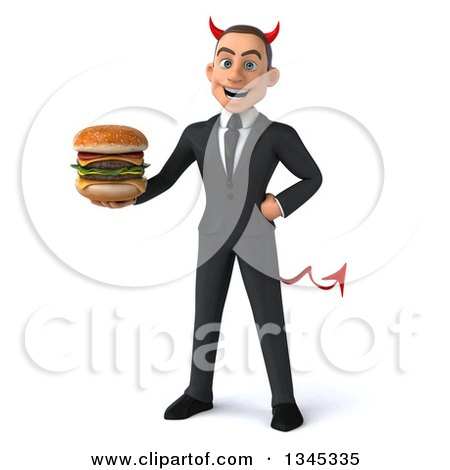 Clipart of a 3d Young White Devil Businessman Holding a Double Cheeseburger - Royalty Free Illustration by Julos