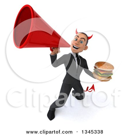 Clipart of a 3d Young White Devil Businessman Holding a Double Cheeseburger and Announcing Upwards with a Megaphone - Royalty Free Illustration by Julos