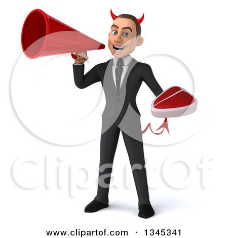 Clipart of a 3d Young White Devil Businessman Holding a Beef Steak and Announcing with a Megaphone - Royalty Free Illustration by Julos