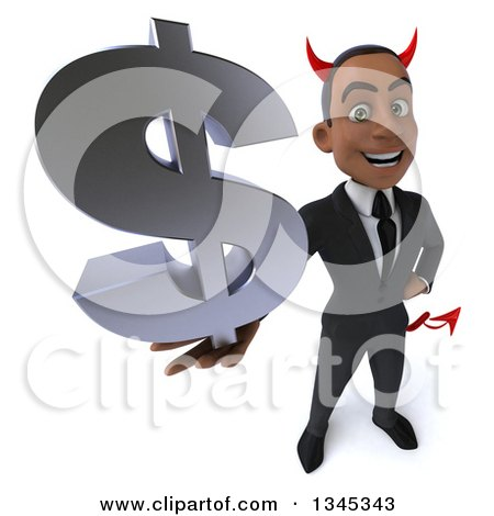 Clipart of a 3d Young Black Devil Businessman Holding up a Dollar Currency Symbol - Royalty Free Illustration by Julos