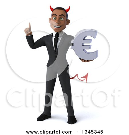 Clipart of a 3d Young Black Devil Businessman Holding up a Finger and a Euro Currency Symbol - Royalty Free Illustration by Julos