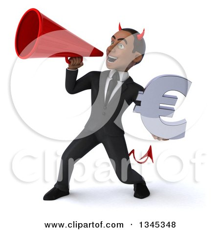 Clipart of a 3d Young Black Devil Businessman Holding a Euro Currency Symbol and Announcing to the Left with a Megaphone - Royalty Free Illustration by Julos