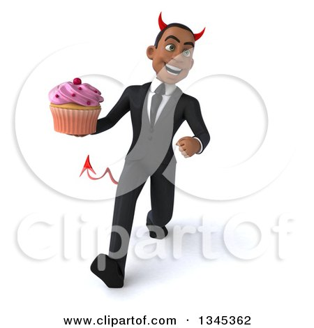 Clipart of a 3d Young Black Devil Businessman Holding a Pink Frosted Cupcake and Speed Walking - Royalty Free Illustration by Julos