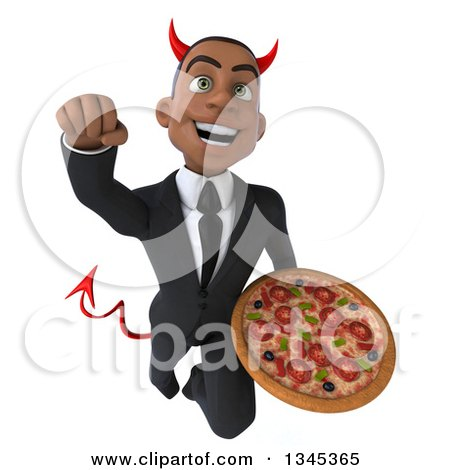 Clipart of a 3d Young Black Devil Businessman Holding a Pizza and Flying - Royalty Free Illustration by Julos