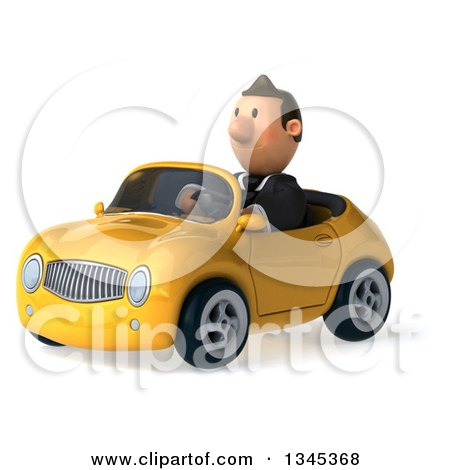 Clipart of a 3d Short White Businessman Driving a Yellow Convertible Car Slightly to the Left - Royalty Free Illustration by Julos