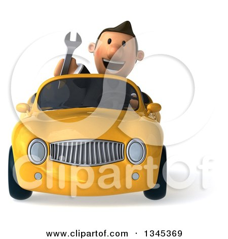 Clipart of a 3d Short White Businessman Holding a Wrench and Driving a Yellow Convertible Car - Royalty Free Illustration by Julos