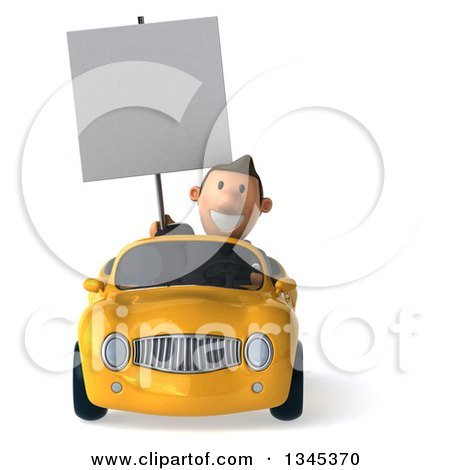 Clipart of a 3d Short White Businessman Holding a Blank Sign and Driving a Yellow Convertible Car - Royalty Free Illustration by Julos