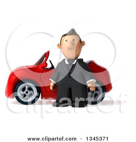Clipart of a 3d Short White Businessman by a Red Convertible Car - Royalty Free Illustration by Julos