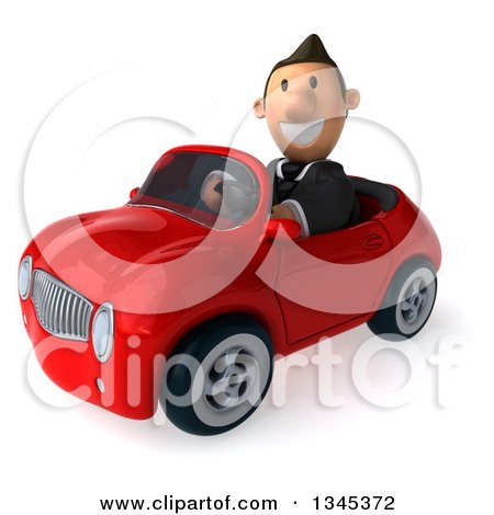 Clipart of a 3d Short White Businessman Driving a Red Convertible Car Slightly to the Left - Royalty Free Illustration by Julos