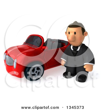 Clipart of a 3d Short White Businessman Pouting by a Red Convertible Car - Royalty Free Illustration by Julos