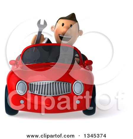 Clipart of a 3d Short White Businessman Holding a Wrench and Driving a Red Convertible Car - Royalty Free Illustration by Julos
