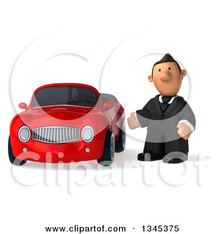 Clipart of a 3d Short White Businessman Presenting by a Red Convertible Car - Royalty Free Illustration by Julos